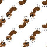 Uma col?nia de formigas de trabalho pequenas na maneira Teste padr?o sem emenda do papel de parede fotos de stock