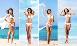 Uma colagem da jovem mulher na praia Fotografia de Stock Royalty Free