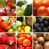 Uma colagem da nutrição com muitas frutas saborosos imagem de stock