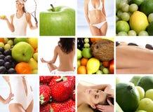 Uma colagem da nutrição com muitas frutas saborosos Foto de Stock Royalty Free