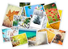 Uma colagem das fotografias é as estações Fotografia de Stock Royalty Free