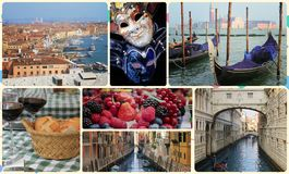 Uma colagem das fotos das atrações Veneza Itália Foto de Stock Royalty Free