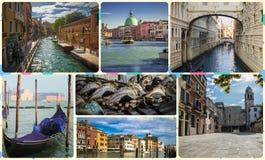 Uma colagem das fotos das atrações Veneza Itália Imagem de Stock