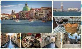 Uma colagem das fotos das atrações Veneza Itália Fotografia de Stock