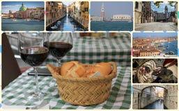 Uma colagem das fotos das atrações Veneza Itália Imagem de Stock Royalty Free