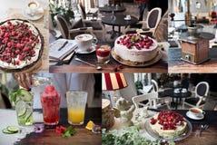 Uma colagem das fotos de culinário, café, restaurante, bebidas, bolos, doces Estilo do vintage e retro imagens de stock