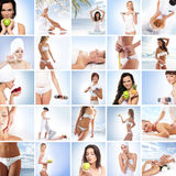 Uma colagem das imagens com as jovens mulheres nos termas Foto de Stock Royalty Free