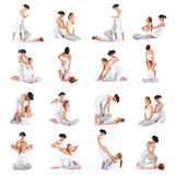 Uma colagem das imagens com as mulheres na massagem tailandesa foto de stock royalty free