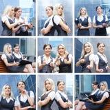 Uma colagem das imagens com mulheres de negócios novas Imagem de Stock Royalty Free