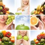Uma colagem das imagens com mulheres novas e frutas Foto de Stock Royalty Free