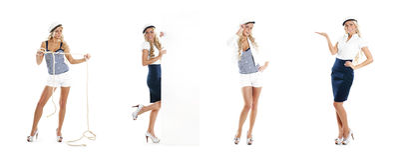 Uma colagem das jovens mulheres em trajes do marinheiro Imagem de Stock Royalty Free