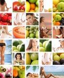Uma colagem de imagens da nutrição com mulheres novas Imagem de Stock Royalty Free