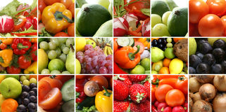 Uma colagem de imagens da nutrição com frutas saudáveis Foto de Stock Royalty Free