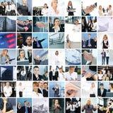 Uma colagem de imagens do negócio com jovens fotografia de stock