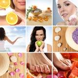 Uma colagem de imagens do tratamento dos termas com mulheres novas Foto de Stock Royalty Free