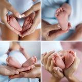 Uma colagem de quatro fotos das mãos do ` s da mãe e dos pés do ` s do bebê fotografia de stock