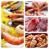 Tapas e colagem espanhóis dos pratos Foto de Stock Royalty Free