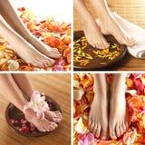 Uma colagem dos pés fêmeas nas pétalas e nas toalhas Imagens de Stock Royalty Free