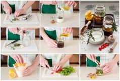 Uma colagem passo a passo de fazer marinadas da carne Fotografia de Stock
