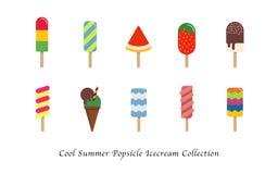 Uma coleção colorida doce da sobremesa do gelado fresco do picolé do verão ilustração do vetor