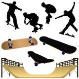 Uma coleção da parte Skateboarding 1 das ilustrações Imagens de Stock