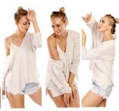 Uma coleção das fotos de uma mulher bonita de dança imagem de stock royalty free