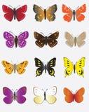 Uma coleção de borboletas coloridas Fotografia de Stock