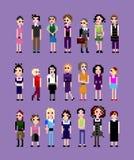 Uma coleção de meninas do pixel Fotografia de Stock