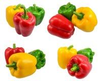Uma coleção de paprika vermelhas do sino verde & amarelo Fotografia de Stock Royalty Free