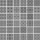 Uma coleção de 36 testes padrões sem emenda monocromáticos greyscale geométricos feitos de formas quadradas arredondadas, ilustra Foto de Stock Royalty Free