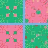 Uma coleção de 4 testes padrões sem emenda, todos os quatro que combinam junto, 2 com as bolas da semente Em um fundo abstrato Fotos de Stock