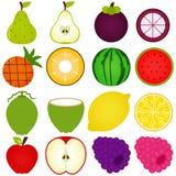Uma coleção do vetor da fruta fresca cortou dentro parcialmente Imagens de Stock