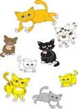 Uma coleção dos gatos Ilustração do Vetor