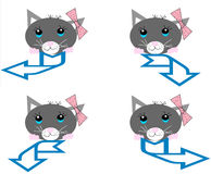 Uma coleção dos gatos com setas Imagens de Stock