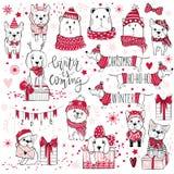 Uma coleção enorme do Natal com cães bonitos, ursos, presentes, snowfl ilustração royalty free