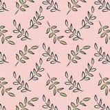 Uma coleção estilizado bonita da folha com um fundo cor-de-rosa imagem de stock royalty free