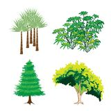 Uma coleção isométrica de árvores e de plantas verdes Imagem de Stock