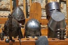 Uma coleção dos capacetes Imagens de Stock
