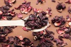 Uma colher de chá secado do hibiscus em um fundo marrom de madeira imagens de stock