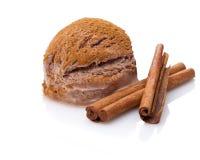Uma colher do gelado da canela com varas de canela imagens de stock