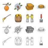 Uma colher do mel, luvas protetoras, um tambor do mel, uma forquilha Ícones ajustados da coleção do apiário nos desenhos animados Fotografia de Stock