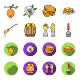 Uma colher do mel, luvas protetoras, um tambor do mel, uma forquilha Ícones ajustados da coleção do apiário nos desenhos animados Imagens de Stock