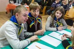 Uma competição entre a juventude teams o cérebro-anel na região de Gomel de Bielorrússia fotografia de stock royalty free
