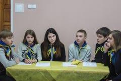 Uma competição entre a juventude teams o cérebro-anel na região de Gomel de Bielorrússia imagem de stock royalty free