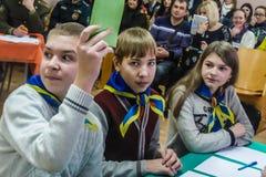 Uma competição entre a juventude teams o cérebro-anel na região de Gomel de Bielorrússia foto de stock royalty free