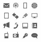 Uma comunicação, ícones, monocromáticos Imagens de Stock