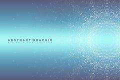 Uma comunicação abstrata gráfica do fundo Visualização grande dos dados Linhas conectadas com pontos Trabalhos em rede sociais Imagens de Stock