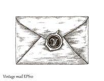 Uma comunicação com o correio, estilo do vintage do desenho da mão do correio Imagens de Stock