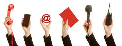 Uma comunicação com um serviço ao cliente como um conceito imagem de stock royalty free