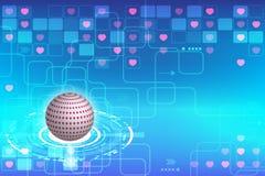 Uma comunicação da tecnologia com o conceito do amor Fotografia de Stock